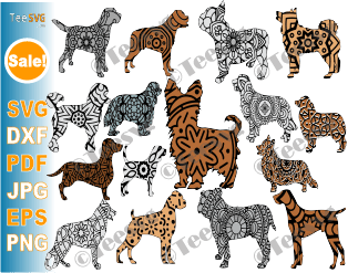 Dog Breed SVG Bundle, 16 Mandala Dog Breeds SVG Files, Dog Mandala SVG, Cricut Puppy Vector Images