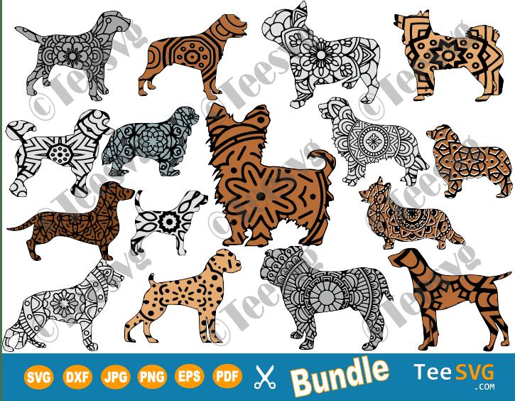 Dog Breed SVG Bundle, 16 Mandala Dog Breeds SVG Files, Dog Mandala SVG, Cricut Puppy Vector Images