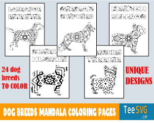Dog Mandala Coloring Pages Printable PDF Dog Breed Mandala Coloring Book for Adults Puppy Colouring Pages Book Sheets Print