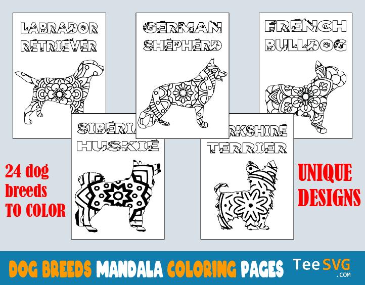 Dog Mandala Coloring Pages Printable PDF Dog Breed Mandala Coloring Book  For Adults Puppy Colouring Pages Book Sheets To Print Teesvg Amazon  Etsy