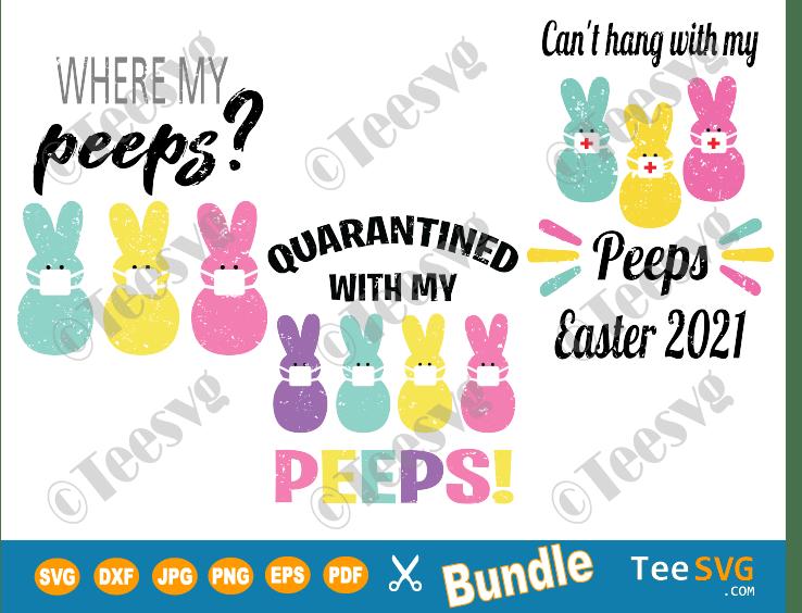 Easter SVG Bundle, Easter Quarantine Funny Peeps with Mask Quarantined Bunny Clip art