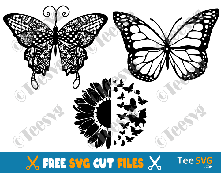 Free Butterfly SVG Files for Cricut Bundle Mandala Sunflower Monarch Butterflies Wings Silhouette Layered wrap Images
