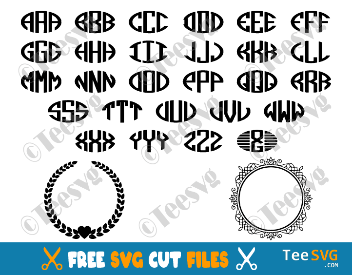 Free Monogram SVG for Cricut Cut Files Download Circle Monogram Alphabet Letters Free Monogram SVG Frames and Borders Bundle