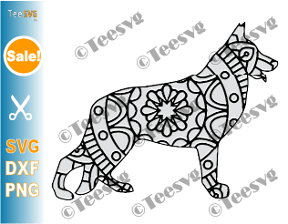 German Shepherd Mandala SVG images, Dog Mandala SVG, Puppy Dog Breeds SVG Files for Cricut