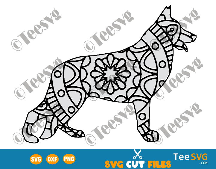 German Shepherd Mandala SVG images, Dog Mandala SVG, Puppy Dog Breeds SVG Files for Cricut