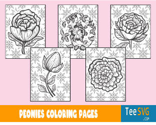 Peony Coloring Page Peonies Printable PDF File Download Floral Book Sheet Pages Drawing Flowers Patterns Pictures Template Gifts for Adults and Kids