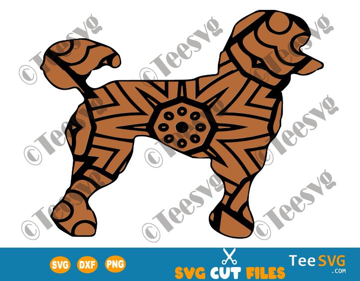 Poodle Mandala SVG, Poodle Vector illustration, Dog Mandala SVG, Puppy, Dog Breeds SVG Files for Cricut