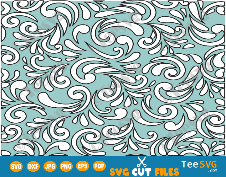 Seamless Floral Pattern SVG, Layered Black and White Turquoise Background, Western Floral Pattern SVG, Elegant Seamless Flowers Vector
