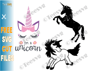 Unicorn SVG Free Bundle Cut file Images Head Face Eyes Design Black and White Silhouette Cute Baby Unicorn Files Download For Cricut