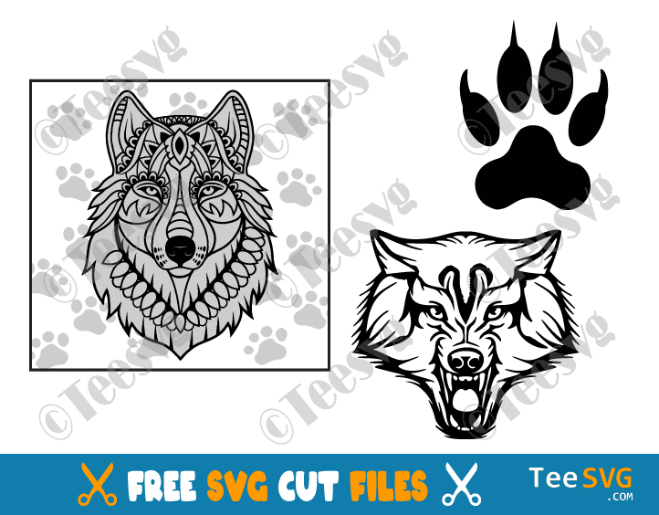 Wolf SVG Free Download Bundle Image Mandala Face Head Paw Print SVG File For Cricut Glowforge