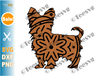 Yorkshire Terrier SVG Mandala, Yorkie Terrier SVG File, Dog Mandala, Puppy Vector, Dog Breeds SVG Files for Cricut