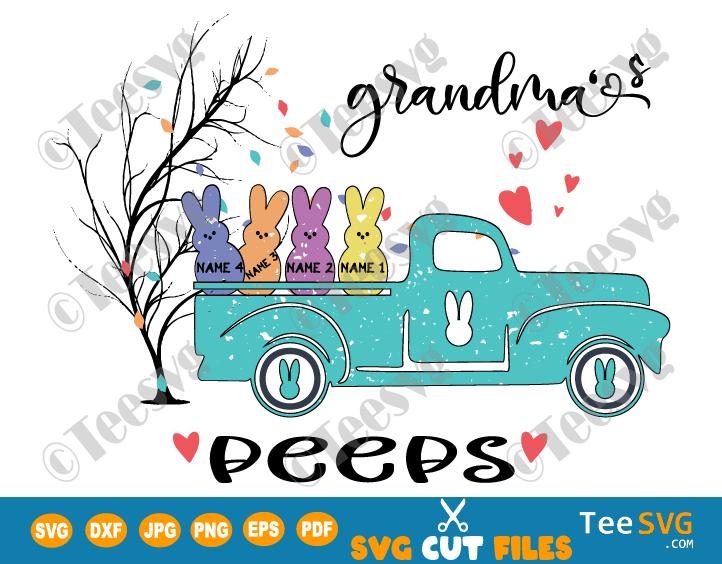 Grandma's Peeps SVG PNG Personalized Easter Grandma Peeps Tree SVG Bunny Granny Truck Grandma With Grandkids Names Shirt Sign Sublimation