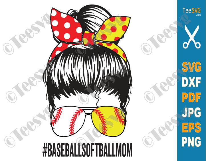 Baseball Softball Mom SVG PNG Decal Baseball Softball Mama SVG Cricut Design Mom Messy Bun SVG Sublimation
