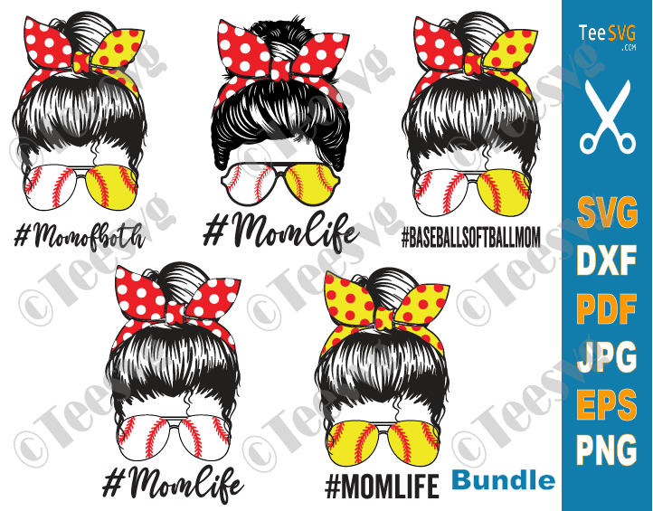 Mom Softball Baseball SVG Bundle Mom Life Softball Baseball SVG PNG Pack shirt sublimation