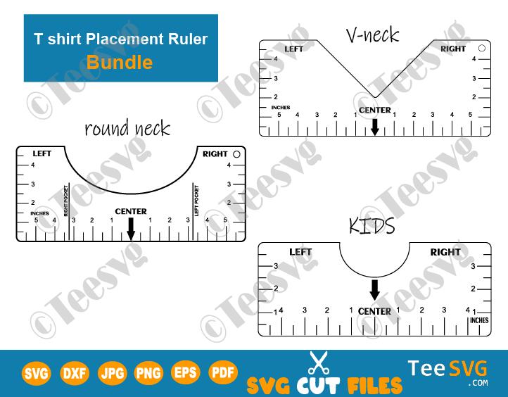 T shirt Ruler Bundle Pack SVG Round Neck V-neck and Kids T-shirt Alignment Ruler SVG DIY T shirt Placement Ruler Guide SVG