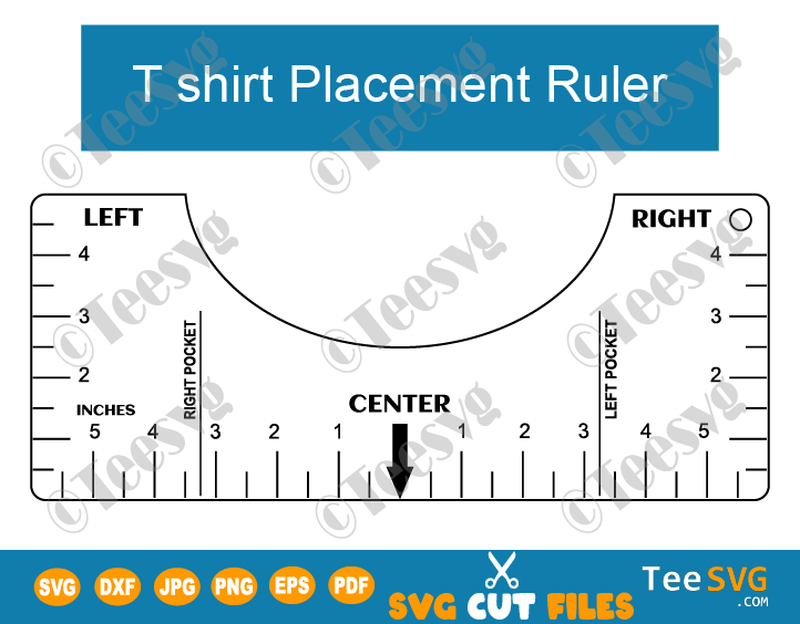 Tee Shirt Ruler SVG PDF Round Neck T shirt Ruler Guide SVG T-shirt Alignment Ruler Printable Cricut Tool Template