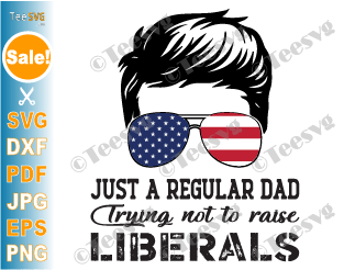 Just a Regular Dad Trying Not to Raise Liberals SVG PNG American USA Flag Father's Day Republican Papa