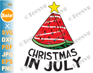 Christmas in July SVG Watermelon Xmas Tree Funny Melon Summer Beach PNG