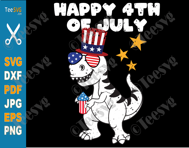 Dinosaur Happy 4th of July SVG Kids PNG T-Rex Dino Fourth of July Shirt Funny Firework Design for Baby Toddler Boys Girls America Independence Day 2021