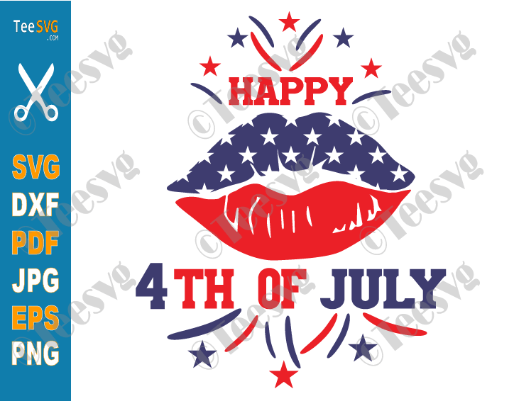 Happy 4th of July Lips SVG PNG Patriotic American USA Flag Fourth of July Lips Funny Shirt Sublimation