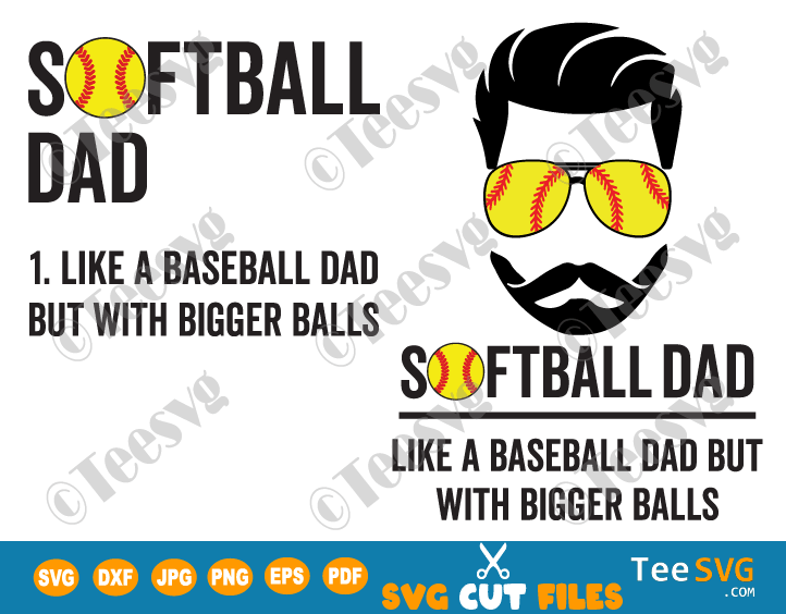 Softball Dad Like a Baseball But With Bigger Balls SVG PNG USA Flag Funny Softball Father's Day