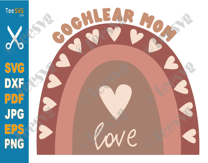 Boho Cochlear Mom SVG PNG, Cute Deaf Pride, Rainbow, Cochlear Implant Hears Mother, Hearing Loss Awareness, Cricut Files