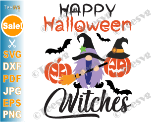 Happy Halloween Witches SVG Witch Gnome SVG Cut Files Diy Gnomes Pumpkin Bats Hat Spider Sign Shirt Cricut Images