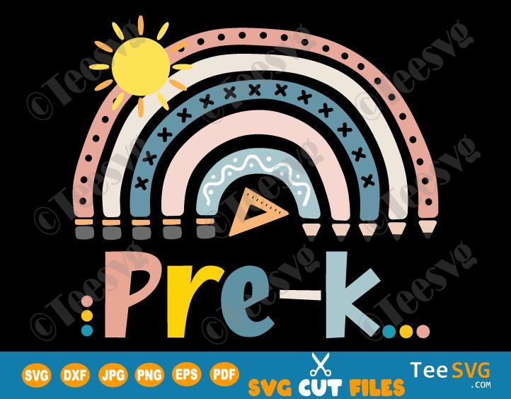 Prek SVG Rainbow Boho Crayon Sun Ruler Hello Preschool First Day of School Cricut Shirt Designs for Girls Boys Student Teacher Cute Pre k PNG