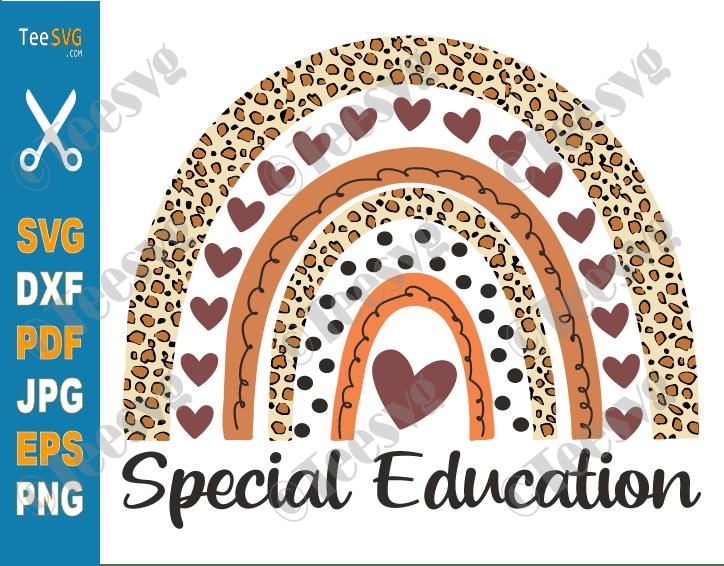 Special Education Teacher SVG Sped Ed Squad Leopard Rainbow Teachers Cricut Vector