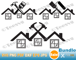 Construction Company Logo SVG PNG Download, Handyman LOGO Design, Roofer, Roof Hammers, Painter, Contractor, Building, Cricut Vector Graphic