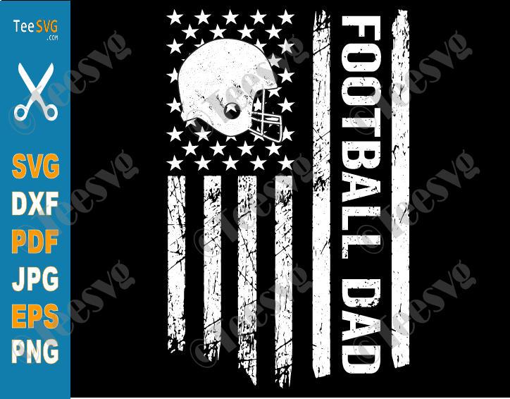 Football Dad SVG PNG File US American Flag American Footbal Father's Day Vintage Shirts Sublimation for Cricut
