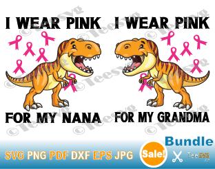 I Wear Pink For My Grandma SVG, I Wear Pink For My Nana SVG, Kids Dinosaur Ribbon Bundle, Breast Cancer Awareness SVG, Great Grandmother Toddler Crafts