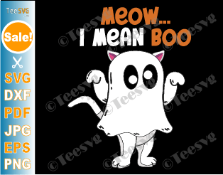 Meow I Mean Boo SVG, PNG, Kids Halloween Cat Lover Boy Girl Funny Shirt Cricut ideas