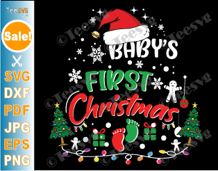 Baby's First Christmas SVG, PNG, Baby's 1st Christmas Ornament SVG, Baby Christmas Onesie SVG, Newborn First Xmas Baby Girl Boy T shirt SVG Gifts