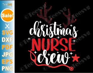 Christmas Nurse Crew SVG PNG Reindeer Stethoscope Squad Stars Nursing Xmas Gifts for Nurses