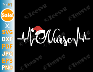 Christmas Nurse Heartbeat Stethoscope SVG Santa Hat Nurse Life PNG DXF Cricut Shirt Design