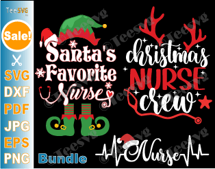 Christmas Nurse SVG Bundle Santa Hat Elf Reindeer Buffalo Plaid Heartbeat Xmas Shirt Design Cricut Gift PNG Files