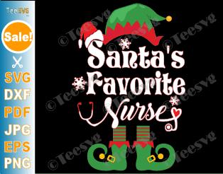 Santa's Favorite Nurse SVG Elf Hat Santa Claus Stethoscope Heart Snowflakes Merry Christmas SVG PNG DXF Cuttable Silhouette Cricut File